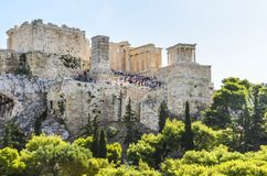 Entrance of the propylaea at the athens acropolis Royalty Free Stock Photo