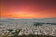 Athens panoramic view in a sunset royalty free stock photography