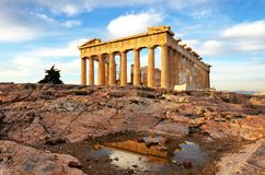 Athens - Parthenon on the Acropolis at sunrise in Greece stock image