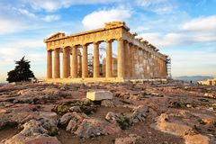 Athens - Parthenon on the Acropolis at sunrise in Greece royalty free stock images