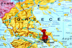Athens pinned on a map of europe Royalty Free Stock Images