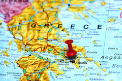Athens pinned on a map of europe Stock Image