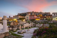 Athens. Remains of Hadrian`s Library and Acropolis in the old town of Athens, Greece stock image
