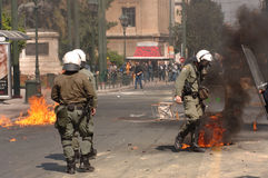 Athens Riots, students rally, 2006 Royalty Free Stock Images