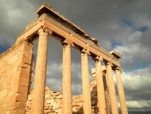 Athens Ruins. Amazing ruins of a temple in the Acropolis stock images