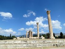 Athens, the ruins of the ancient temple dedicated to Zeus royalty free stock photography