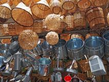 Athens shop display of baskets and pans Royalty Free Stock Photography