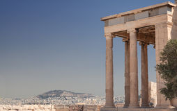 Athens skyline from the Acropolis, Greece. Athens skyline and part of the Propylees from the Acropolis in Greece royalty free stock photos