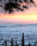 Athens skyline aerial view in the afternoon Royalty Free Stock Image