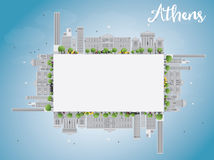 Athens Skyline with Grey Buildings, Blue Sky and copy space Stock Image
