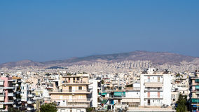Athens Skyline, High Density Housing. View across Athens high rise residential areas, Greece royalty free stock images