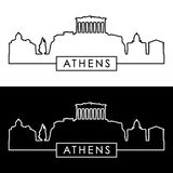 Athens skyline. Linear style. Royalty Free Stock Photography