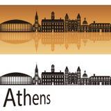 Athens skyline in orange background Stock Photo