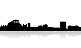 Athens skyline vector. Vectored illustration as silhouette of the panorama over athens, the capital of greece and one of the most important cities in ancient era Stock Images