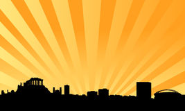 Athens skyline vector background. Vectored illustration as silhouette of the panorama over athens, the capital of greece and one of the most important cities in Royalty Free Stock Photography