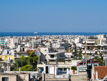 Athens Skyline, View to Saronic Gulf. View across Athens high density residential areas to the Saronic Gulf, Greece royalty free stock photo
