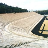 Athens Stadium Olympic. Cut of the Ancient Olympic Stadum in Greece birth of athletics and all ancient sports such as running and marathon Stock Photography