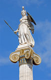 Athens - The statue of Athena on the column in front of The National Academy building by Leonidas Drosis Stock Image