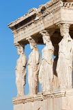 Athens - The statues of Erechtheion on Acropolis Stock Photography