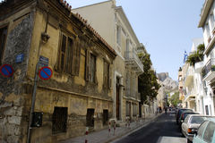 Athens street 01. An old Greek building in the streets of Athens Stock Photo