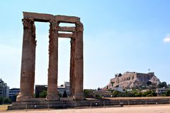 athens tempelzeus Arkivbilder