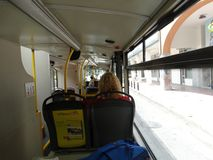 Athens tourist bus from the inside. royalty free stock photography