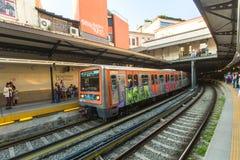ATHENS - Urban metro station with subway train Royalty Free Stock Photo