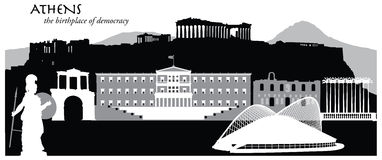Athens. Vector illustration of the skyline cityscape of Athens, Greece Royalty Free Stock Image
