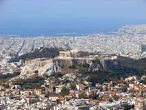 Athens view: the Acropolis royalty free stock image
