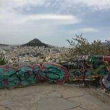 Athens view graffiti green pink travel walk path stock photo