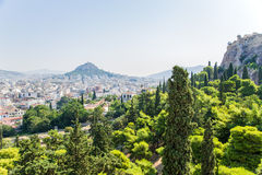 Athens. View Lycabettus hill and Acropolis Royalty Free Stock Photos