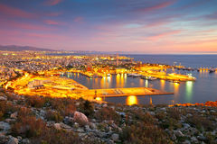 Athens. View of Piraeus harbour in Athens from the foothills of Aegaleo mountains royalty free stock photo