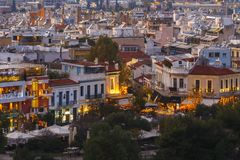 Athens. View of Thissio quarters in Athens from Areopagus hill at sunset, Greece Stock Images