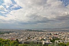 Athens Wide-Angle View. A view of Athens, Greece, from the hill of Lecabetus, centered on Acropolis stock image