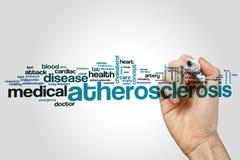 Atherosclerosewort-Wolkenkonzept auf grauem Hintergrund Stockfotos