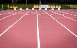 Athetic stadium. Running tracks at athletic stadium Royalty Free Stock Image