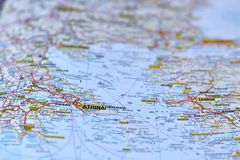 Athinas on the map Royalty Free Stock Images