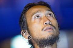 Athiwara Khongmalai超级明星摇滚歌手`印度桃花心木Bodyslam `完成了为捐赠跑的他的慈善 免版税库存照片