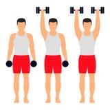 Athlète d'homme avec des haltères d'ascenseurs de vêtements de sport Vecteur illustration libre de droits