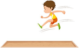 Athlète d'homme faisant le long saut illustration de vecteur