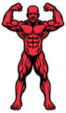 Athlète de Bodybuilder montrant son corps de muscle illustration stock
