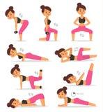 Athlète de séance d'entraînement de caractère de vecteur d'exercice de sport de femme de fille de forme physique bel Formation de illustration de vecteur