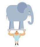 Athlète et éléphant antiques Homme fort de cirque de vintage Photo stock