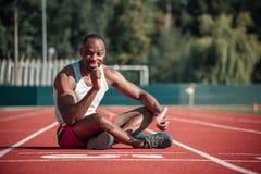 Athlète masculin noir gai avec une lucette Images libres de droits