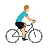 Athlète masculin pratiquant faisant du vélo la conception d'isolement d'icône Images stock