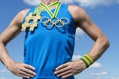 Athlète olympique de Hashtag de médaille d'or d'anneaux Photographie stock