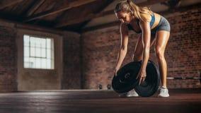 Athlète préparant des poids pour s'exercer au centre de fitness images libres de droits