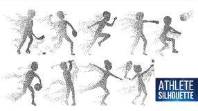 Athlète Silhouette Set Vector Joueurs dynamiques de sport dans l'action Particules pointillées Bannière de sport, jeu, concept d' illustration de vecteur