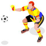 Athlète Sports Icon Set de joueur de gardien de but du football match de football et joueurs isométriques du champ 3D Concurrence illustration de vecteur