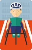 Athlètes dans le fauteuil roulant emballant à l'intérieur d'un stade Photo stock